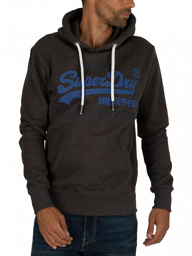 Superdry Winter Charcoal Marl Sweat Shirt Shop Duo Pullover Hoodie