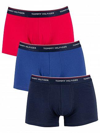 Tommy Hilfiger Rose Red/Deep Ultramarine/Peacoat 3 Pack Premium Essentials Trunks