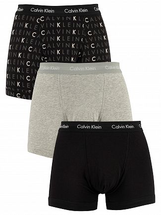 Calvin Klein Black/Grey Heather/Subdued Logo 3 Pack Trunks