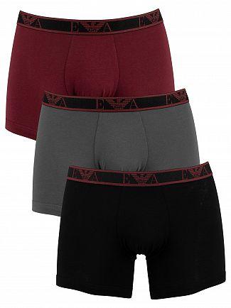 Emporio Armani Black/Grey/Burgundy 3 Pack Boxers