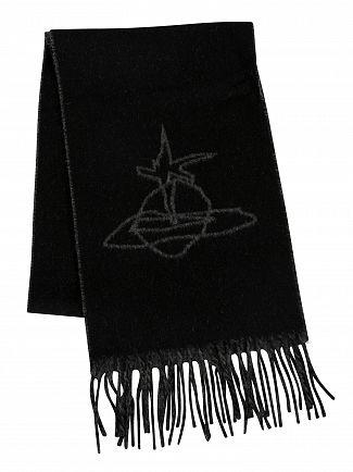 Vivienne Westwood Black Scribble Orb Reversible Scarf