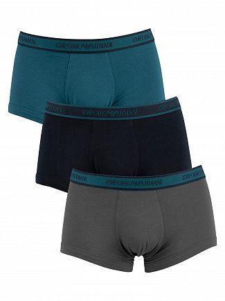 Emporio Armani Grey/Navy/Blue 3 Pack Trunks