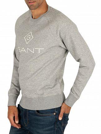 Gant Grey Melange Lock Up Sweatshirt