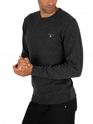 Gant Anthracite Melange Superfine Lambswool Knit