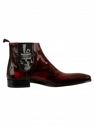Jeffery West Red Polished Leather Scarface Shoes