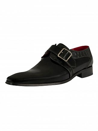 Jeffery West Black Polish/Croco Scarface Shoes
