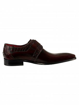 Jeffery West Burgundy Polish/Croco Scarface Shoes