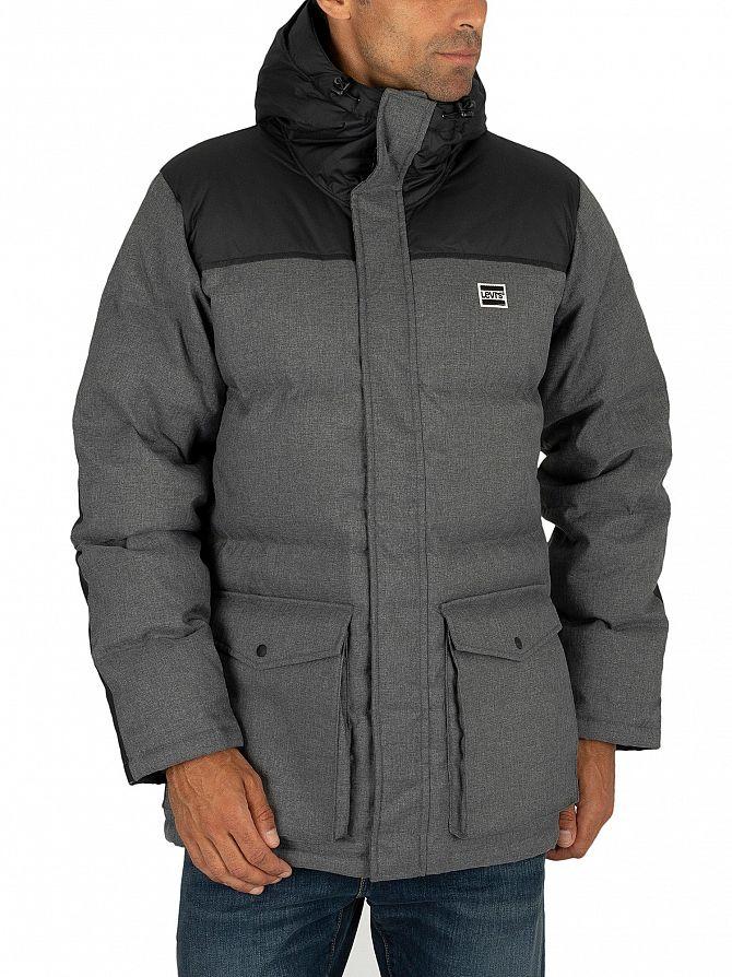 Levi's Dark Heather Grey Down Puffer Parka Jacket