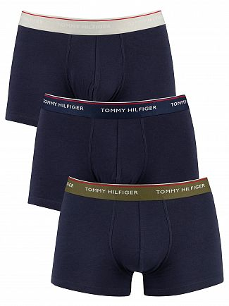Tommy Hilfiger Olive Night/Peacoat/Glacier Gray 3 Pack Premium Essentials Trunks