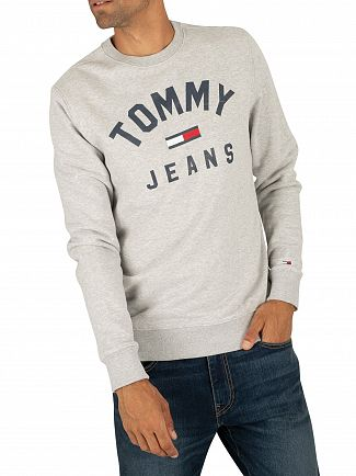 Tommy Jeans Light Grey Heather Essential Flag Sweatshirt