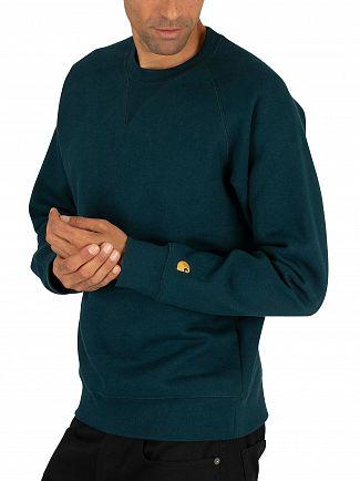 Carhartt WIP Duck Blue/Gold Chase Sweatshirt