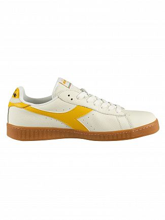 Diadora White/Yellow Freesia Game Low Leather Trainers