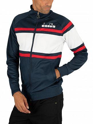 Diadora Blue Denim/Optical White Logo Track Jacket