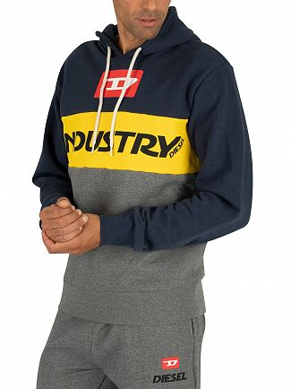 Diesel Grey/Yellow/Navy Brandon Pullover Hoodie