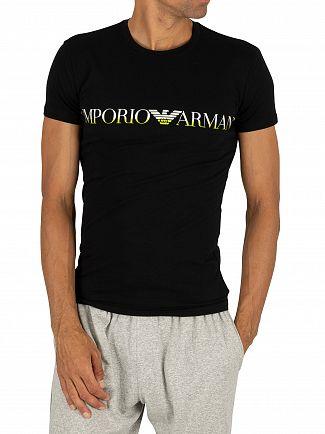 Emporio Armani Black Mega Logo Crew T-Shirt