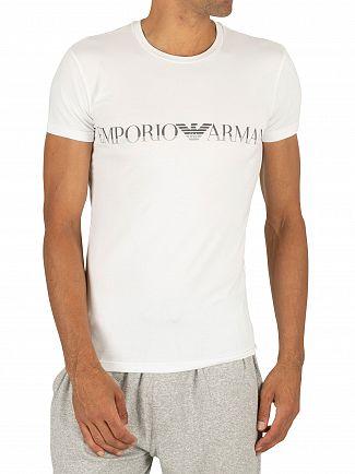 Emporio Armani White Mega Logo Crew T-Shirt