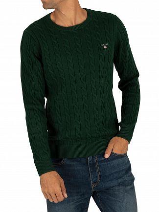 Gant Tartan Green Cotton Cable Sweatshirt