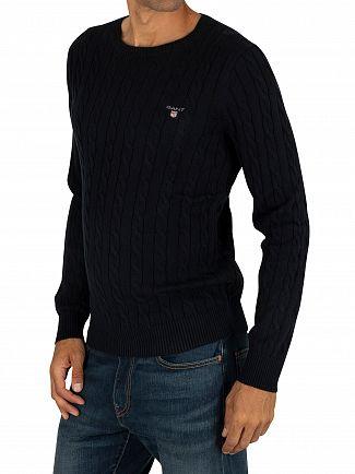 Gant Evening Blue Cotton Cable Sweatshirt