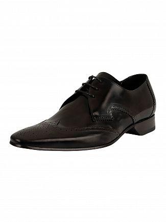 Jeffery West Black Polished Escobar Leather Shoes