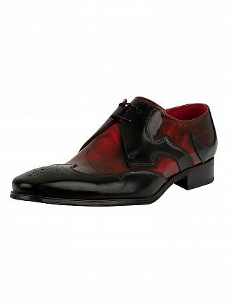 Jeffery West Black/Red Polished Leather Derby Shoe