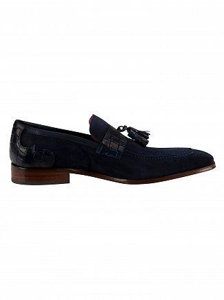 Jeffery West Dark Blue Suede Croco Loafers