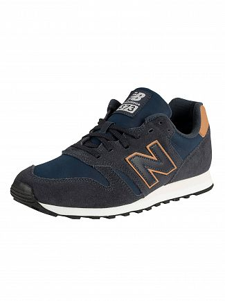 New Balance Navy 373 Suede Trainers