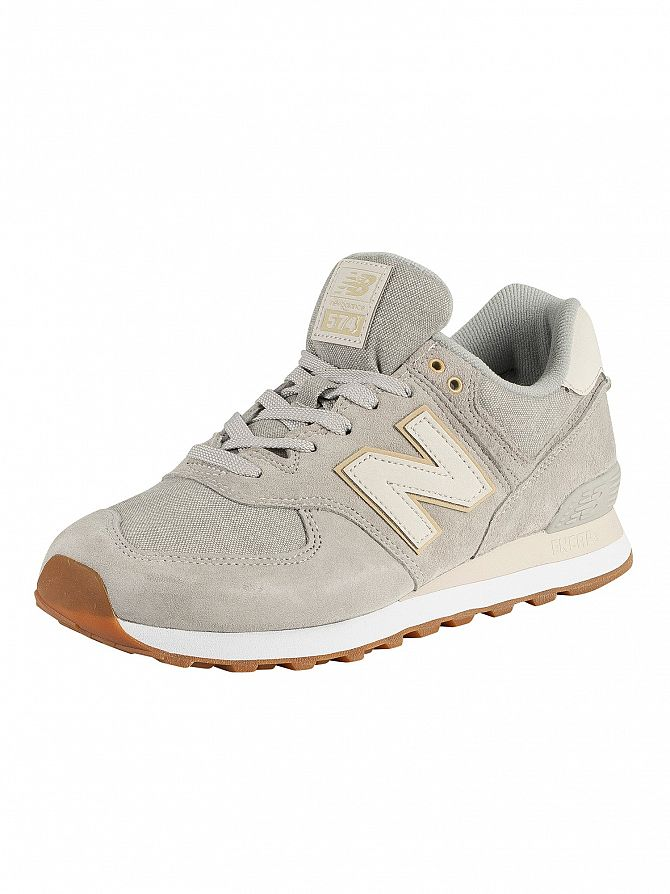 New Balance Light Grey 574 Suede Trainers