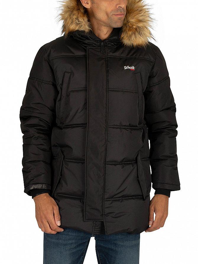 Schott Black Airfur Parka Jacket
