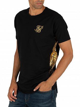 Sik Silk Black/Gold Foil Fade Panel T-Shirt