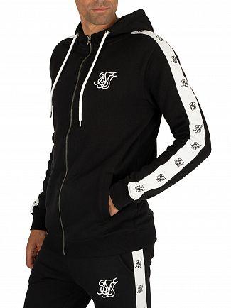 Sik Silk Black/White Inset Zip Hoodie