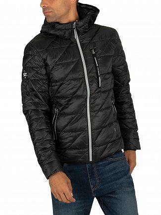 Superdry Jet Black Diagonal Quilt Fuji Jacket