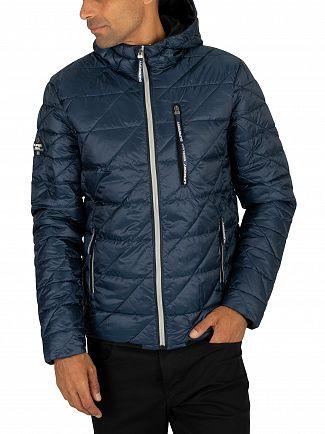 Superdry Lauren Navy Diagonal Quilt Fuji Jacket