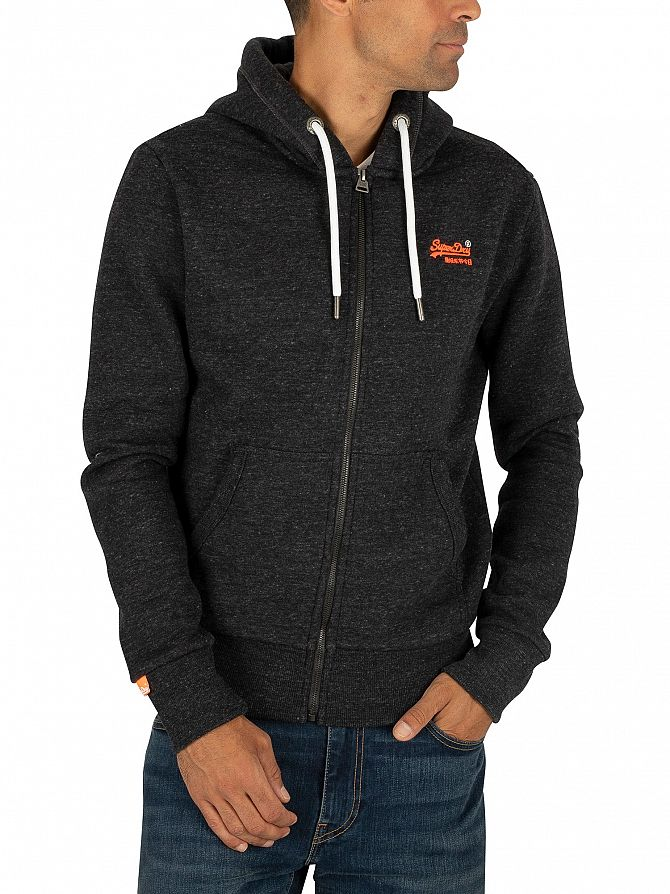 Superdry Nightshade Black Marl Orange Label Classic Zip Hoodie