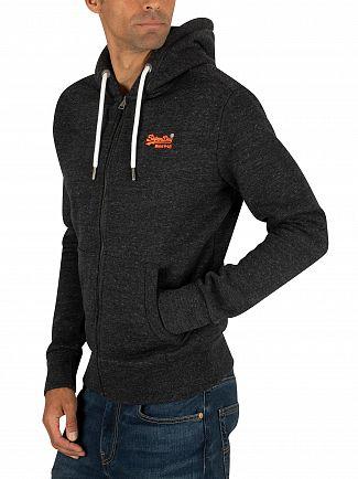 Superdry Nightshade Black Marl Orange Label Classic Zip Hoodie