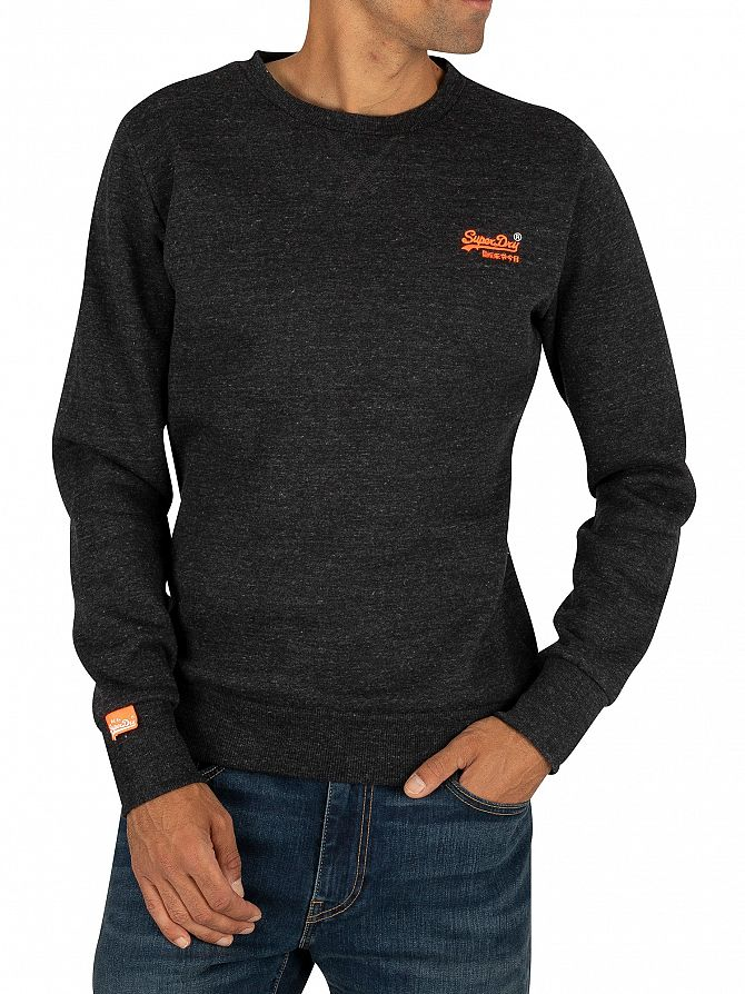 Superdry Nightshade Black Marl Orange Label Crew Sweatshirt