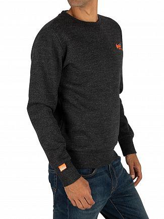 Superdry Nightshade Black Marl Orange Label Crew Sweatshirt