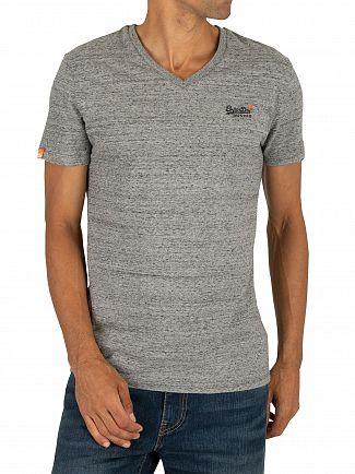 Superdry Flint Steel Grit Orange Label Vintage EMB V-Neck T-Shirt