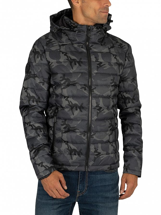 Superdry Grey Camo Tweed Double Zip Fuji Jacket