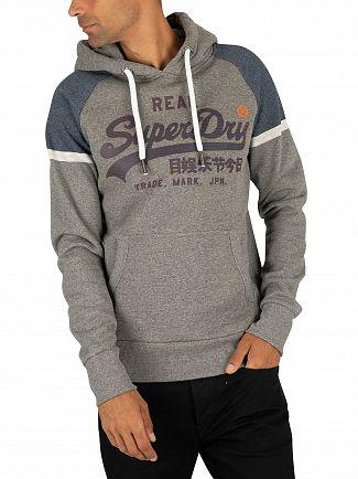 Superdry Phoenix Grey Grit Vintage Logo Raglan Pullover Hoodie