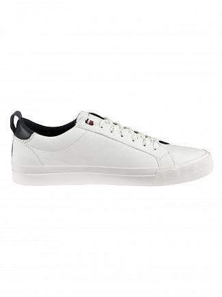 Tommy Hilfiger White Flag Detail Leather Trainers