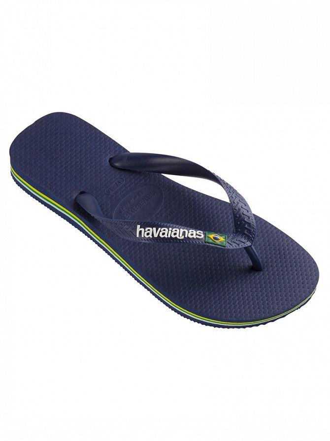 Havaianas Navy Blue Brasil Logo Flip Flops