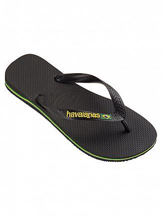 Havaianas Black Brasil Logo Flip Flops