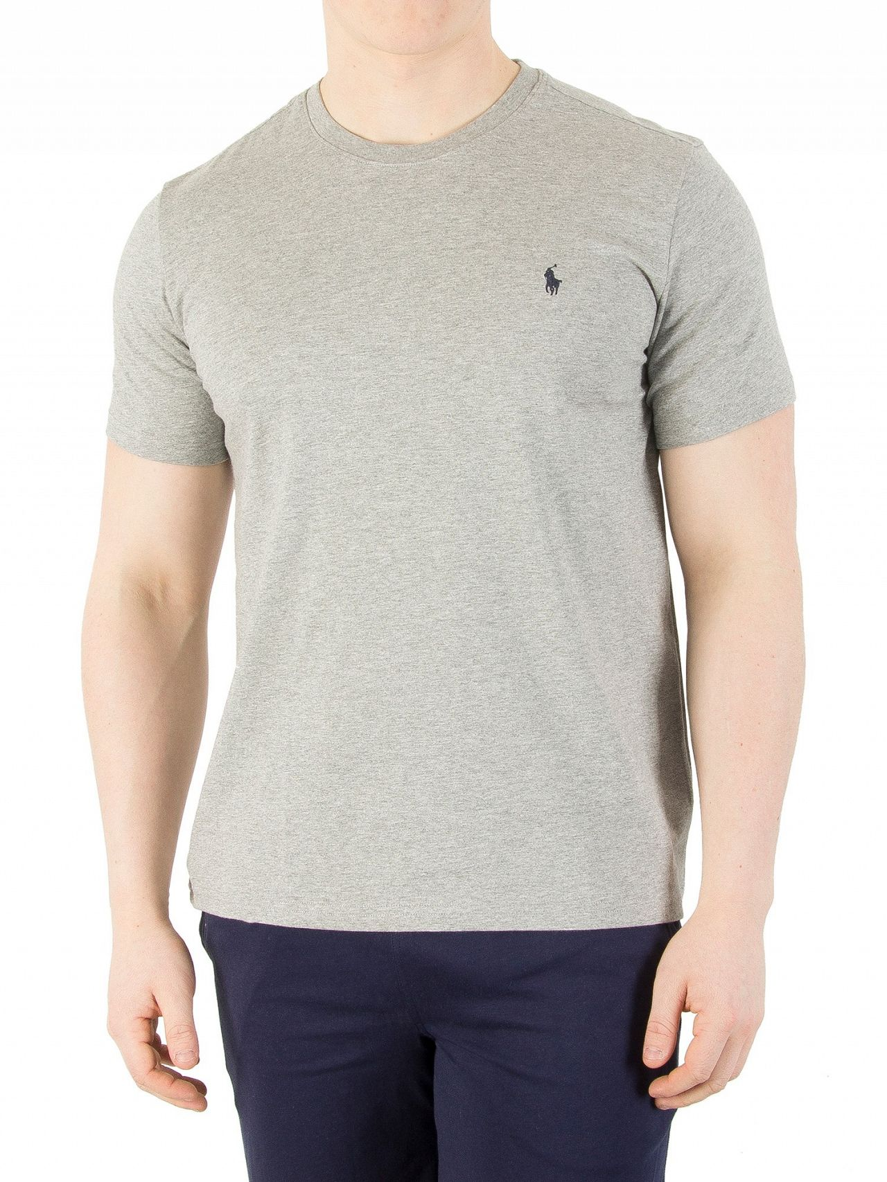 Polo ralph lauren heather grey logo crew neck t shirt for What is polo neck t shirts