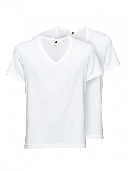 G-Star White 2 Pack V Neck T-Shirts
