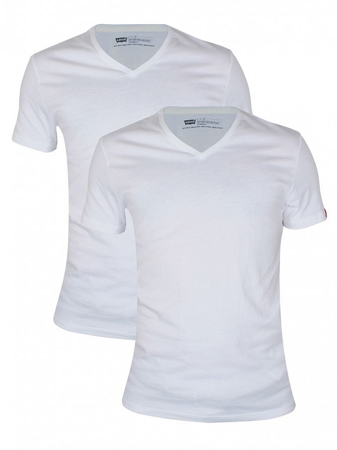 Levi's White 2 Pack V-Neck T-Shirts