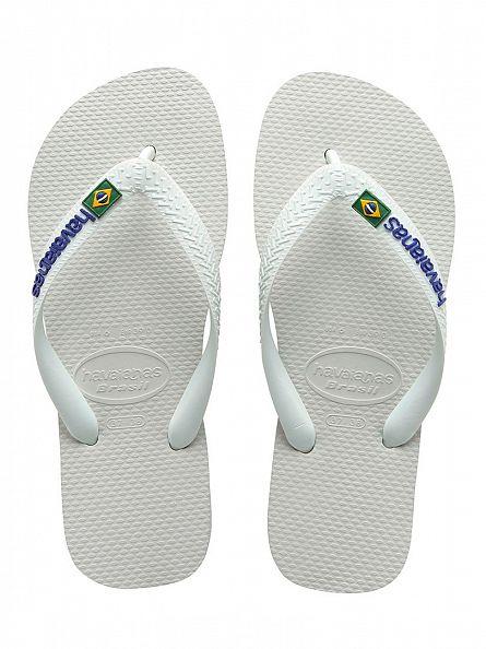 Havaianas White Brasil Logo Flip Flops