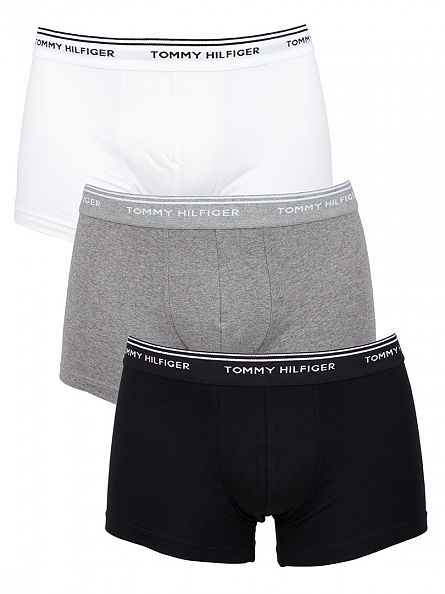 Tommy Hilfiger White/Cavier/Grey Classic Stretch 3 Pack Trunks