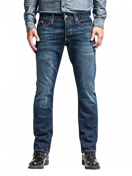 Replay Deep Blue Denim Waitom Regular Slim Fit Jeans