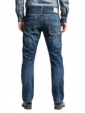 Replay Deep Blue Denim Waitom Regular Slim Fit Jeans