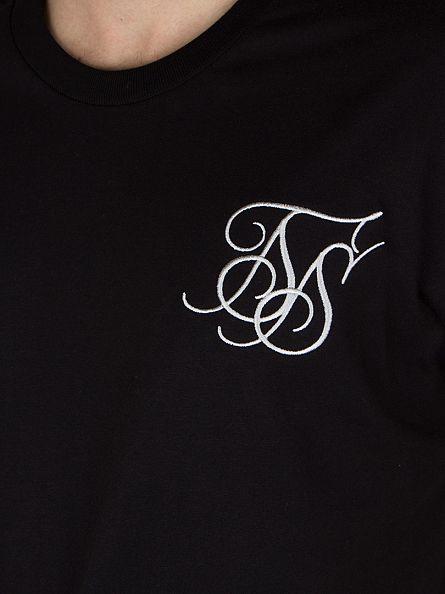 Sik Silk Black Curved Hem T-Shirt